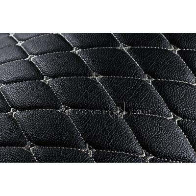 Автомобильный коврик в багажник 3D Премиум черный с белой строчкой