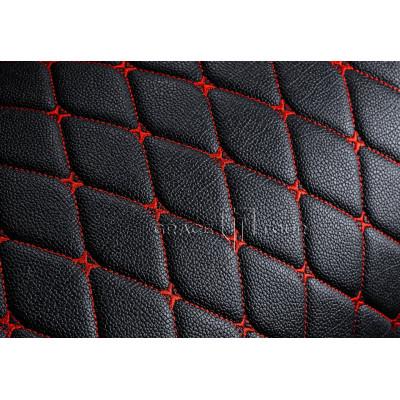 Автомобильный коврик в багажник 3D Премиум черный с красной строчкой