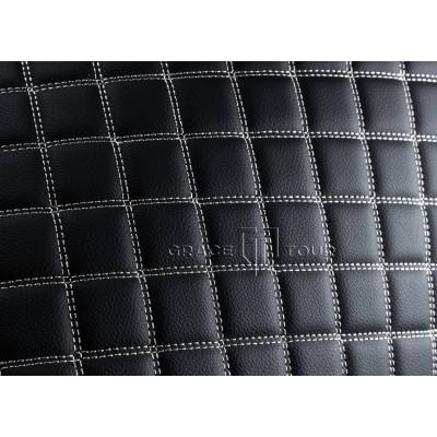 Автомобильный коврик в багажник 3D Люкс черный с белой строчкой