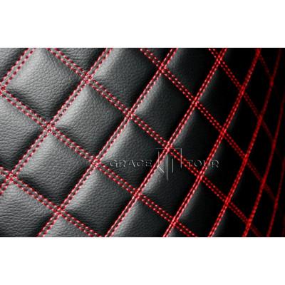 Автомобильный коврик в багажник 3D Люкс черный с красной строчкой