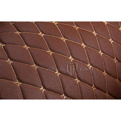 Автомобильный коврик в багажник 2D Премиум светло-коричневый с бежевой строчкой