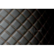 Автомобильный коврик в багажник 2D Люкс черный с коричневой строчкой