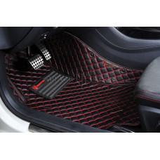 Автоковрик Люкс 3D чёрный с красной строчкой