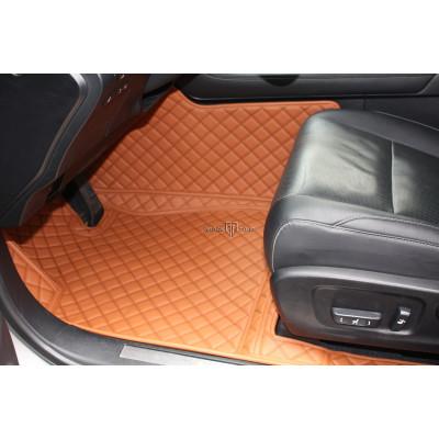 Автоковрик Люкс 3D коричнево-рыжий с коричневой строчкой