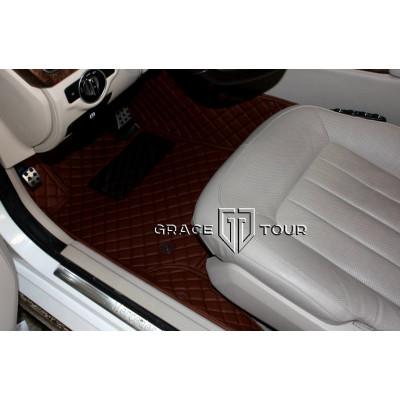 Автоковрик Люкс 3D  темно-коричневый с коричневой строчкой