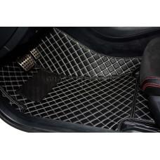 Автоковрик Люкс 3D чёрный с белой строчкой