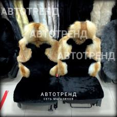 """Меховые накидки из меха ЛИСА+ОВЧИНА """"Эксклюзив"""" (Черный)"""