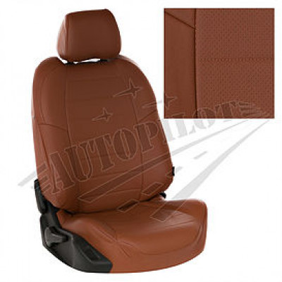 Чехлы на сиденья из матовой экокожи Аригон (Коричневый + Коричневый)