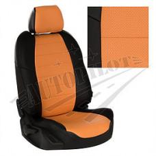 Чехлы на сиденья из матовой экокожи Аригон (Чёрный + Оранжевый)