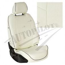 Чехлы на сиденья из матовой экокожи АВТОПИЛОТ (Белый + Белый)