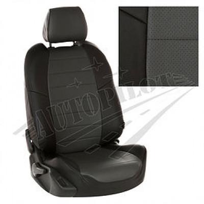 Чехлы на сиденья из матовой экокожи АВТОПИЛОТ (Чёрный + Темн. серый)
