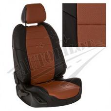 Чехлы на сиденья из матовой экокожи Аригон (Чёрный + Коричневый)
