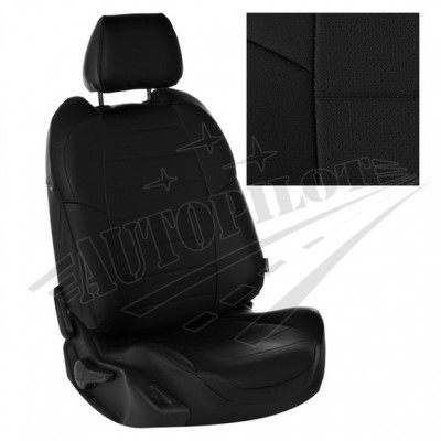 Чехлы на сиденья из матовой экокожи АВТОПИЛОТ (Чёрный + Черный)