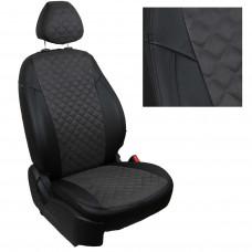 Чехлы на сиденья из матовой экокожи/алькантары РОМБ АВТОПИЛОТ (Черный+Темно-серый)