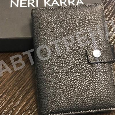 Обложка для автодокументов и паспорта с кнопкой NERI KARRA черный