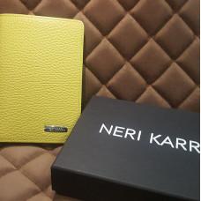 Обложка для автодокументов  NERI KARRA (нат.кожа) желтый/ зеленый