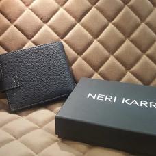 Портмоне мужское NERI KARRA (нат.кожа) черный с доп.отделением