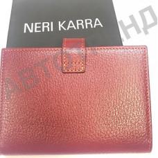 Обложка для паспорта и автодокументов с кнопкой NERI KARRA (нат.кожа) бордовый